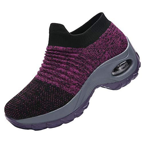 Zapatillas de Deporte para Mujer Zapatillas de Deporte Zapatillas Bajas de Tela Informal Cojín de Aire Suave Zapatillas de Running Antideslizantes sin Cordones para Mujer Transpirable