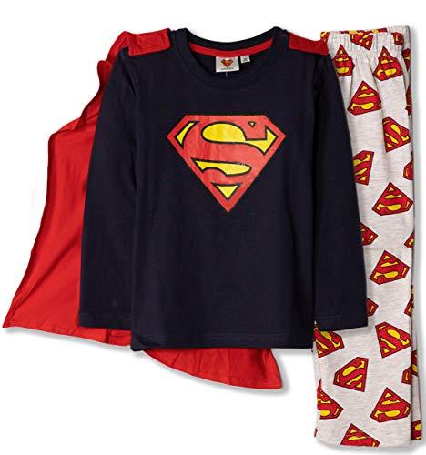 DC Batman, Superman Comic - Pijama de manga larga con capa de algodón 100% 3-10 años