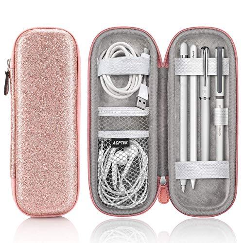 AGPTEK Apple Pencil Hülle (1. und 2. Generation), Premium Kunstleder Tasche, Schutzhülle für Samsung, Huawei, Surface Pro Eingabestift mit integriertem Ablagefach und passend für USB Kabel
