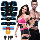 HODAY Muscle Toner Abdominal Toning Belt EMS ABS Toner Body Muscle Trainer Wireless Portable Unisex Fitness Training Gear for Abdomen Arm Leg Training Home Office Exercise
