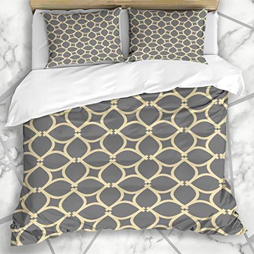 Sängkläder påslakanset - grill grå abstrakt modern geometrisk gul arabisk färg kurva prick design prickig - borstad mikrofiber påslakan med kuddfodral-kung (230 x 220 cm)