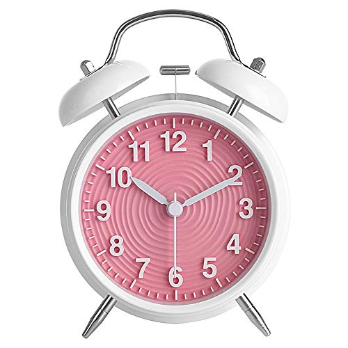 """Ukey 4"""" Twin Bell Alarm Clock Non-ticking Bedside Table Travel Clock Vintage Alarm Clock With Nightlight and Loud Alarm, Battery Operated (Not Included) - Pink"""