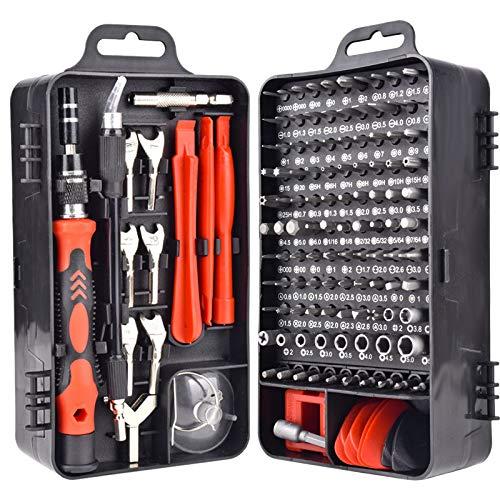 Cobeky 135 In1 Destornillador Herramientas Magnéticas Conjuntos para Teléfono Móvil Tablet Ordenador Gafas Reparación Kit de Herramientas DIY (Negro)