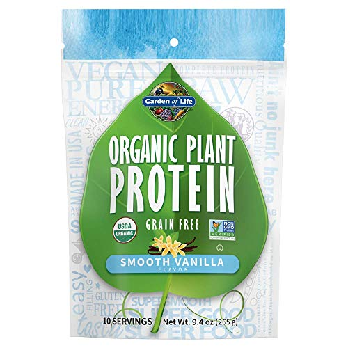 Garden of Life Organic Plant Protein Smooth Vanilla Powder, 10 Servings - Vegan, Grain Free & Gluten Free Plant Based Protein Shake with 1 Billion CFU Probiotics & Enzymes, 15g Protein