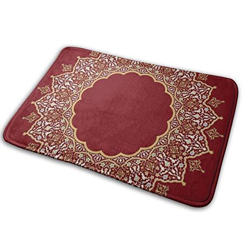 Kcmical Marco Floral árabe Diseño islámico Tradicional Diversión Bienvenido Felpudo Personalizado Alfombrillas de Interior Sala de Estar Dormitorio Baño Alfombrilla de Puerta