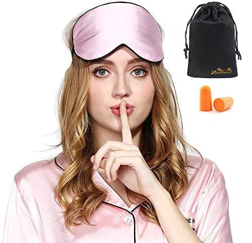 Viedouce Schlafmaske Seide Augenmaske,100% Hautfreundlich Seide Schlafmaske Frauen und Herren, Angenehme Schlafmaske Ideal für Schlaf zu Hause und Auf Reisen (1 Pack- Rosa)
