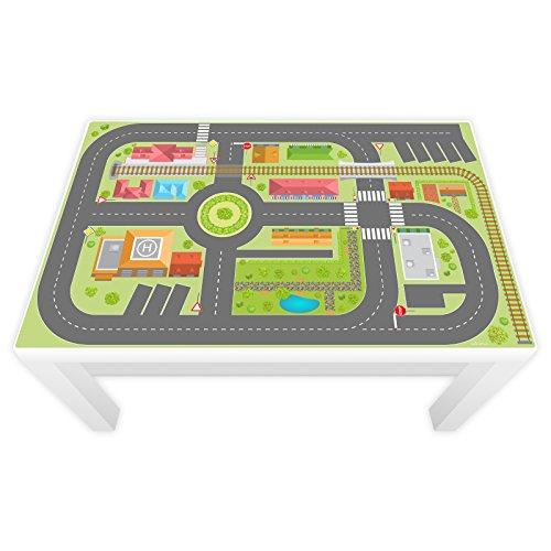 nikima Schönes für Kinder Spielfolie für Lack Tisch groß 117 x 77 cm Stadtleben (Möbel Nicht Inklusive)