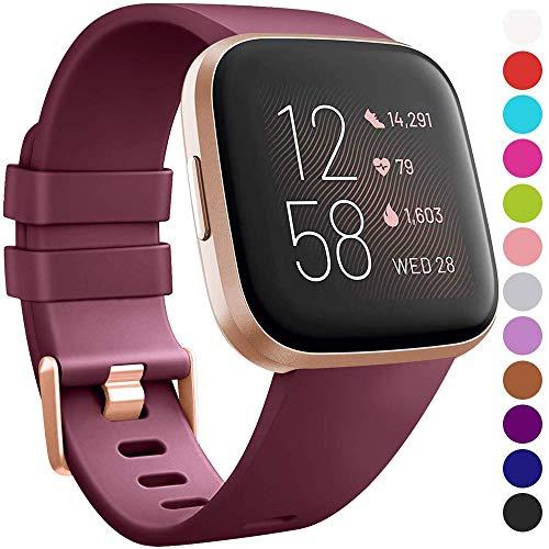 VIKATech Armband für Fitbit Versa/Versa 2/ Versa Lite, Klassisch Weiches TPU Sports Ersetzerband Verstellbares Zubehör Uhrenarmband für Fitbit Versa/Versa 2/ Versa Lite, Weinrot, Groß