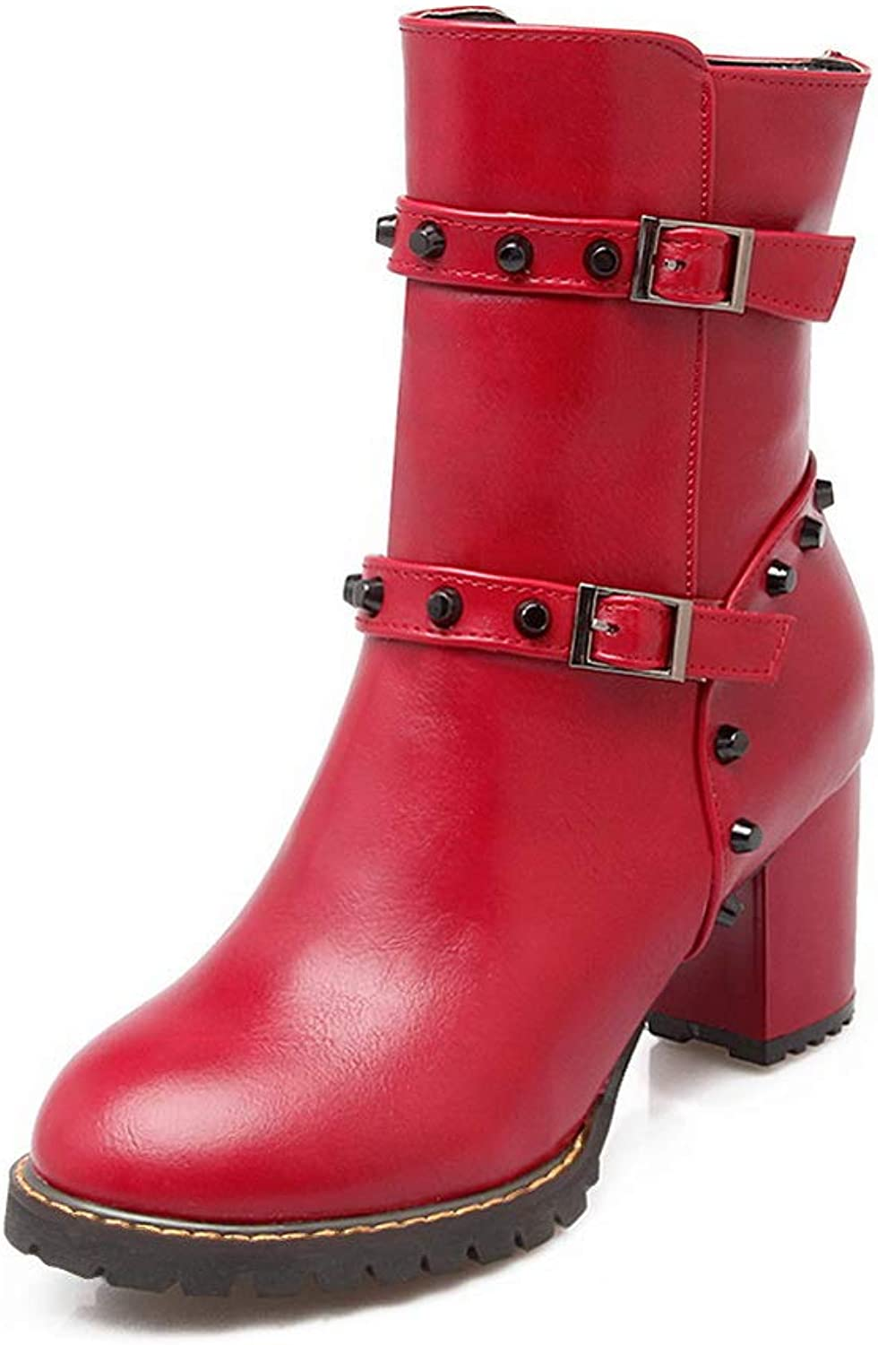 AN Womens Chunky Heels Metal Buckles Pointed-Toe Urethane Boots DKU02372