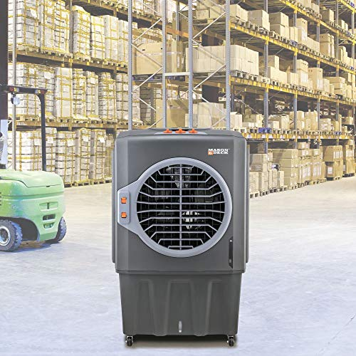 Mason & Deck Low-Energy, Powerful Portable Evaporative Swamp Cooler for Large Work Spaces, ME2MOGO, 2800 CFM, Gray