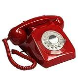 GPO 746 Teléfono fijo de disco con estilo retro de los años 70 - Cable en espiral,...
