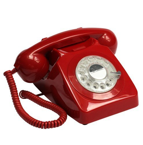 GPO 746 Rotary 1970s-style Retro Landline Phone - Curly Cord, Authentic Bell Ring (Red)