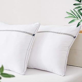 BedStory Oreillers 60x60 Lot de 2, Oreiller Moelleux, Coussin Blanc, Garnissage Fibre Creuse, 2 Oreillers Gonflants, Oreil...