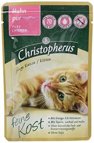 Christopherus Alleinfutter für Katzen, Nassfutter, Junge Katze, Huhn Pur, 12 x 85 g Beutel