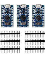 KOOKYE Pro Micro ATmega32U4 5V/16MHz Module Board マイクロコントローラーボード Arduino Leonardo Replace ATmega328 Arduino Pro Miniと互換 3個セット