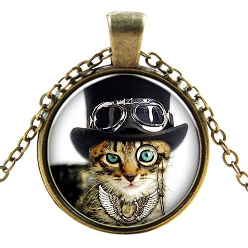 Goddesslili Lucky Cat Pendant for Women Teen Girls Mom Necklace Vintage Retro Wedding Engagement Anniversary Jewelry Gift Under 5 Dollars (Muti)