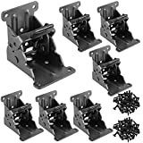 HAKZEON 8 Pack 2.68 x 2.48 x 2-1/8 inches Foldable Support Bracket with 88 Screws, Black Heavy Duty self-Locking Hinge Lock Extension Support Bracket for Folding Table Feet Bed Legs