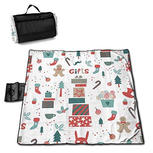 Suo Long Motif de Noël avec Couverture de Pique-Nique de décoration de Noël avec Tapis de Pique-Nique Pliable à Main pour Camping pelouse de Parc de Plage