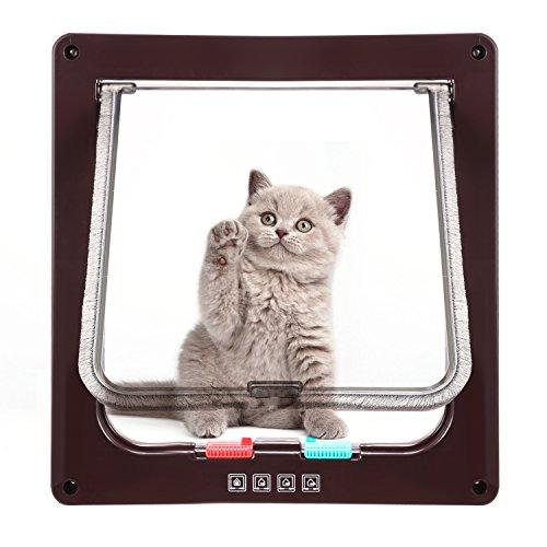 Katzenklappe Hundeklappe mit 4-Wege-Magnet-Schließ,Haustierklappe für Katzen und kleine Hunde, Katzentüre mit Tunnel,Installieren Leicht mit Teleskoprahmen (L-23.5 x 25cm, Braun)