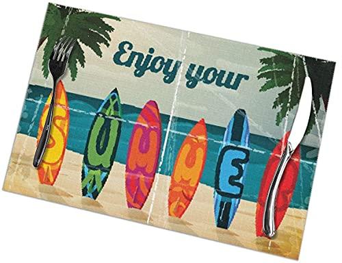Manteles Individuales Tropical Paradise con Tabla de Surf Juego de 6 manteles Individuales para Mesa de Comedor Manteles Individuales Lavables Resistentes a la abrasión, 12 x 18 Pulgadas