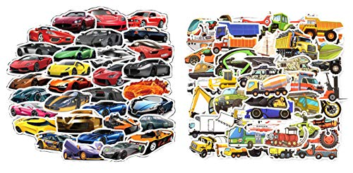 Car Stickers for Boys, Sports Car Racing Car Truck Motorcycle Engineering Vehicle Stickers Pack 100 Pcs for Bike Bicycle Moto Car Bumper Helmet Luggage Laptop Water Bottle Suitcase Skateboard Refrigerator Stickers