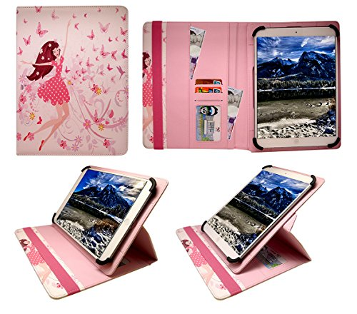 """Sweet Tech Universal 360 Degree Rotating Wallet Case Cover Folio [HAPPY GIRL] for Lenovo Tab E10 10 Inch (10.1"""") HD Tablet (9-10')"""