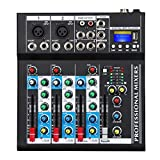 Depusheng HT4 Bluetooth Compatible Professional Portable Digital DJ Console w/USB 4 Channel Mixer Audio Interface-Mixing Boards For Studio Recording, Black