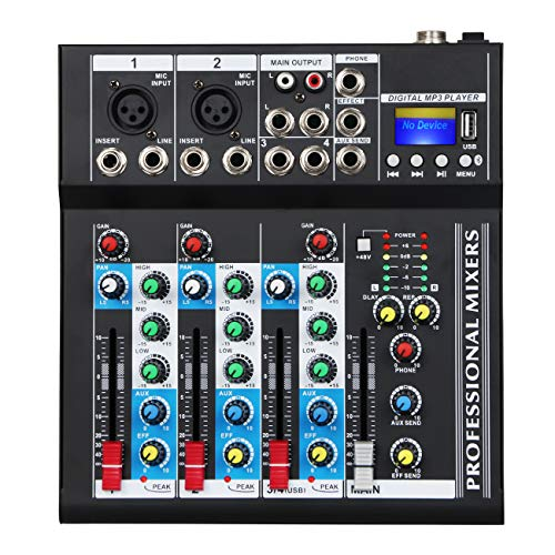 Depusheng Professional 4 Channel 48V USB Portable DJ Mixer Bluetooth Live Studio Audio Sound Mixing Console Controller for Computer Recording, Bands