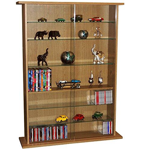 WATSONS BOSTON - Glass Collectable Display Cabinet / 600 CD / 255 DVD Storage Shelves - Oak