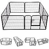 PawHut 8 Panel Pet Playpen Heavy-Duty Iron Indoor/Outdoor, 40-inch, Black