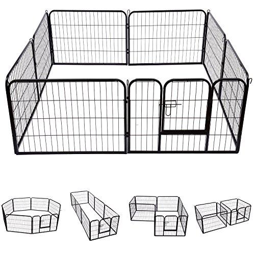S AFSTAR Safstar Pet Exercise Pen with Door, 8 Panels Portable Puppy Cage, Metal Dog Playpen Indoor Outdoor Fence 40-Inch (Black)