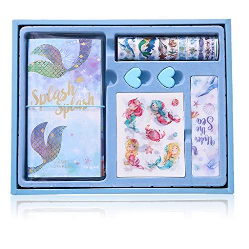 HONGFAGO - Juego de papel de libreta de sirena para niños, diario para niños, caja de regalo, papel de carta, regalo para niñas, carnaval, Halloween, cumpleaños, fiestas