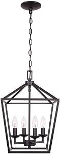 Home Decorators Collection 4- Light Bronze Caged Chandelier