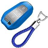 kaser Funda de Silicona para Llave Peugeot Citroen Keyless – Cover Carcasa de TPU Cromo Suave para Peugeot 3008 5008 Citroen DS Protección Llaveros Mando a Distancia (Azul)