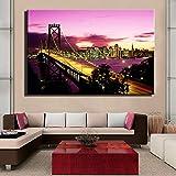yhyxll New York Brooklyn Bridge Leinwanddrucke Gemälde Stadt Nacht Landschaft Kunst Bild für Wohnzimmer Wanddekoration 40x60cm