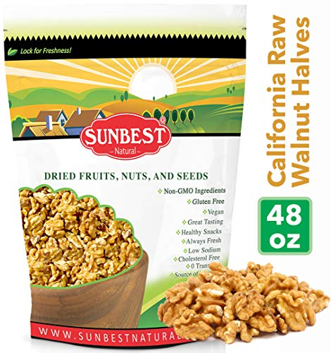 SUNBEST NATURAL California Shelled Walnuts, Raw, 3 Lb. Bag