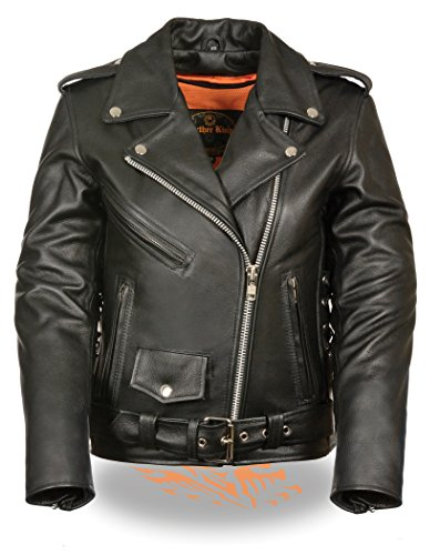 LC2700 Ladies Black Classic MC Premium Leather Jacket w/Side Laces (X-Large)