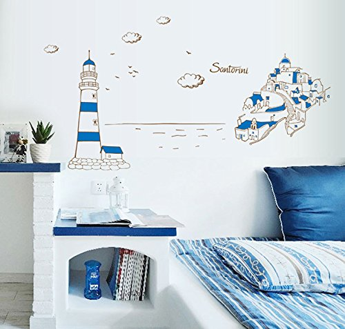 TOTOMO #W163 Santorini Wall Decals Removable Wall Decor Decorative Painting Supplies & Wall Treatments Stickers for Girls Kids Living Room Bedroom