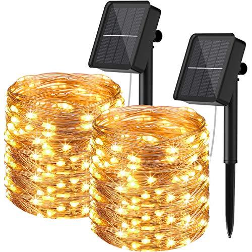 Guirnaldas Luces Exterior Solar, Hepside [2 Packs] Guirnalda Solar 24m 240 LED Luces Led Solares para Exteriores Impermeable Luces Led Decorativas para Festivales,Bodas,Patio,Jardin, Fiestas