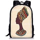 Sacs Tribaux Décor Tribal Femme Africaine en Mode Ethnique Traditionnelle Robe Portrait Glamour Graphique Crème Marron