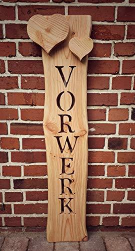 Holzbrett mit Namen + aufgesetzten Herzen, Namensschild Haustür, Türschild, kreatives Geschenk Hochzeit Holz, Holzstele, Willkommensschild Haustür