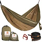 Cushy Camper Premium Hammock with Tree Straps - Portable Sleep System for The Outdoors - Perfect for Travel and Backpacking - Lightweight Double Hammock with Nylon Straps - Adjustable Width Sides