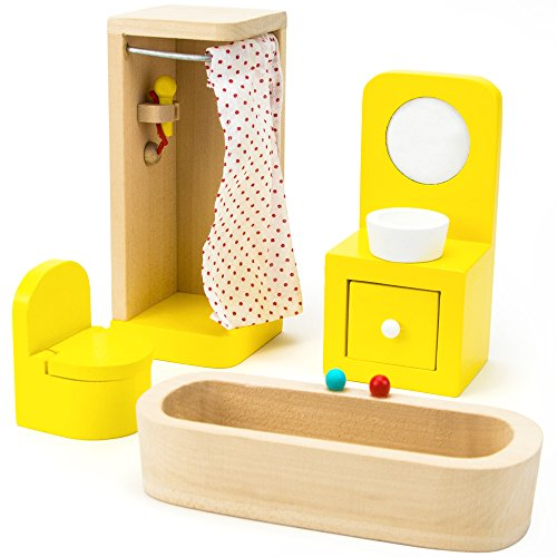 Imagination Generation Wooden Wonders Country Bathroom Set, Colorful Dollhouse Furniture (4pcs)