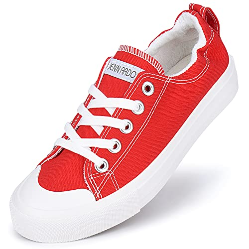 JENN ARDOR Slip On Canvas Shoes for Women Fashion Sneakers Low Top Walking Shoes Comfortable red Size: 7 UK