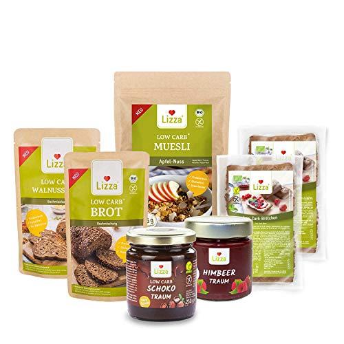 Lizza Low Carb Frühstücksbox | Bis zu 89% weniger Kohlenhydrate | Keto-, Atkins- & Diabetikerfreundlich | Bio. Glutenfrei. Vegan. | Müsli, Brot und Schokoladenaufstrich (Frühstück für 3 Wochen)