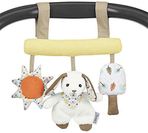 Sterntaler Spielzeug zum Aufhängen mit Klettverschluss, Hase Hoppel, Inklusive Rassel, Alter: Für Babys ab der Geburt, Weiß/Beige