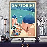 サントリーニ有名な都市旅行ポスターヴィンテージ風景キャンバス絵画壁アート写真リビングルームの装飾/ 50x70cm-フレームなし
