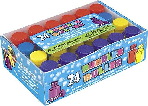 Unique Party 95233 – Mini fête bulles Lots cadeaux de fête, Lot de 24 PACK OF 72 multicolore