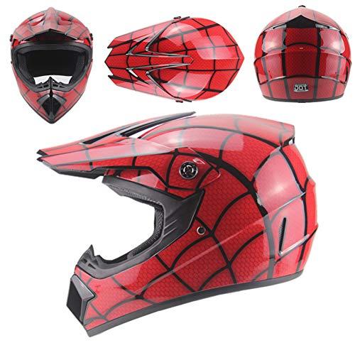 OOFAY Downhill-Motorrad-Offroad-Helme, Mountainbike-Helme, Unisex-Motorradhelme Mit Schutzbrille,Bright red Spider Web,M