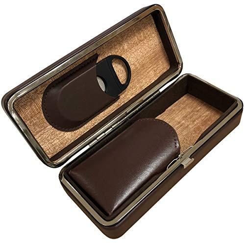 Prestige Import Group - 3 Cigar Folding with Snap Lock Cigar Travel Case - Color: Brown